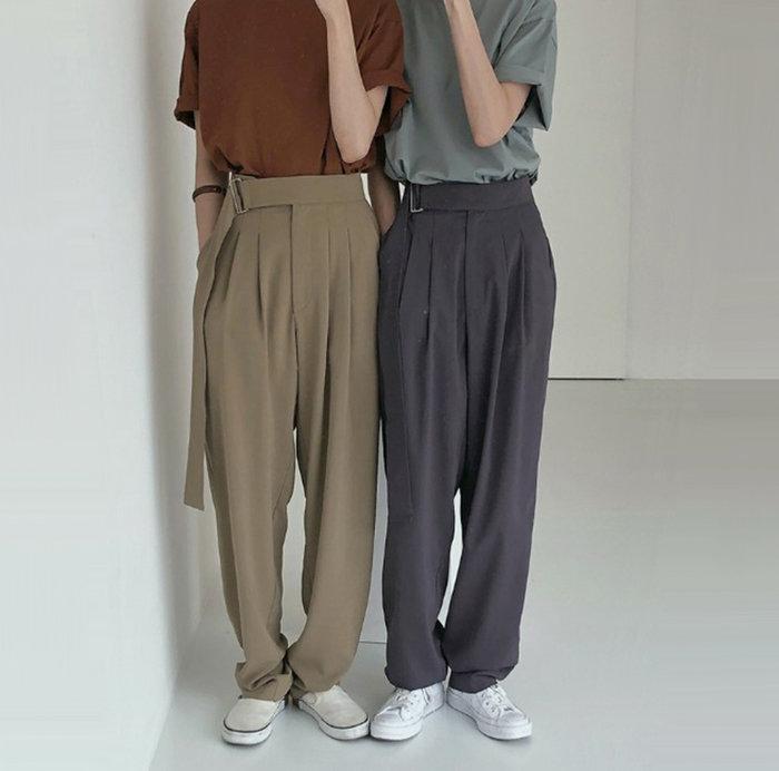SEYES  個性復古古著自然風基本款高質感方扣腰帶三色西裝褲