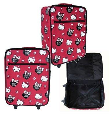 【卡漫迷】 85折出清 Hello Kitty 行李箱 高42cm 紅色滿版 ㊣版 二段拉桿式 登機箱 旅行箱 拉鏈式