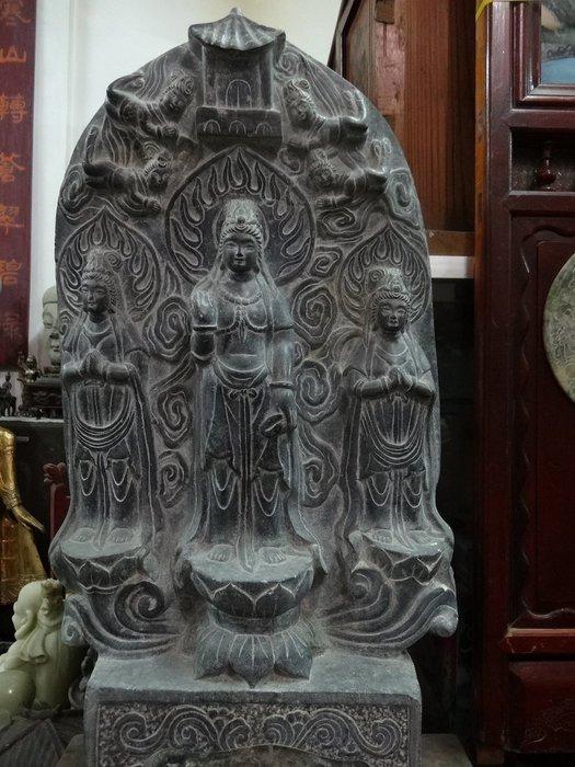 【御寶閣Viboger】古董 文物 藝品 字畫 化石~大型黑膽石 石雕 神龕 觀世音菩薩 觀音石雕 黑膽石