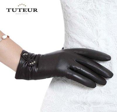 新款女士手套 秋冬短款羊皮手套 保暖可愛蝴蝶結3139