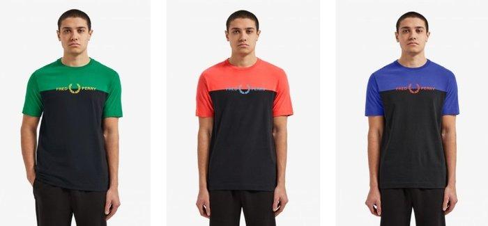 ◎美國代買◎Fred Perry 雙色塊配色搭配logo圓領短袖logo印字Teeshirt~歐美代買~大尺寸