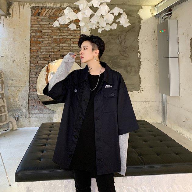 FINDSENSE 2019 秋冬上新 G19  日系潮流拼接袖子假兩件式寬鬆夾克外套男裝百搭寬鬆休閒外套