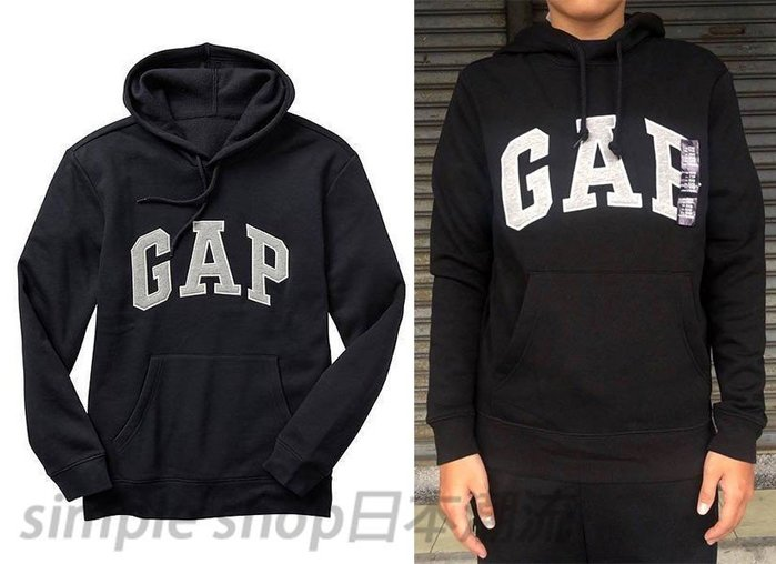 【Simple Shop】現貨 新材質GAP LOGO 男生 GAP連帽長袖 GAP帽T 黑色 有小碼女生可穿
