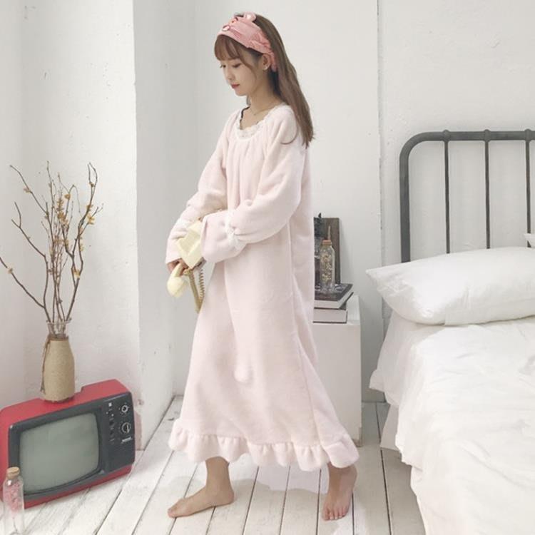 睡衣 秋冬韓版甜美可愛長款毛絨絨睡裙長袖連衣裙家居服女長裙