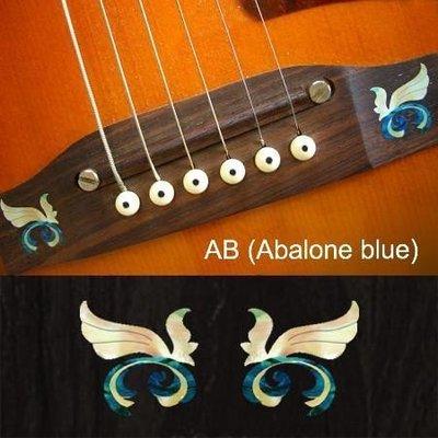 園之屋 現貨 日本 Inlay sticker 藍白色 翅膀飛羽 另有灰白色 琴橋貼紙  可選購 民謠吉他用