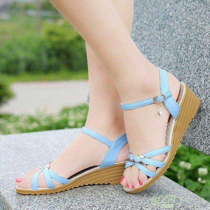 交換禮物 涼鞋女夏季新品正韓中跟厚底楔形女鞋百搭一字扣厚底平底女士涼鞋