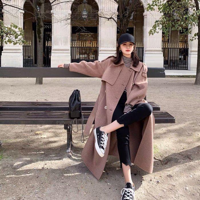 ❤JM SHOP韓風❤全羊毛風衣式敲強氣場雙面呢長大衣