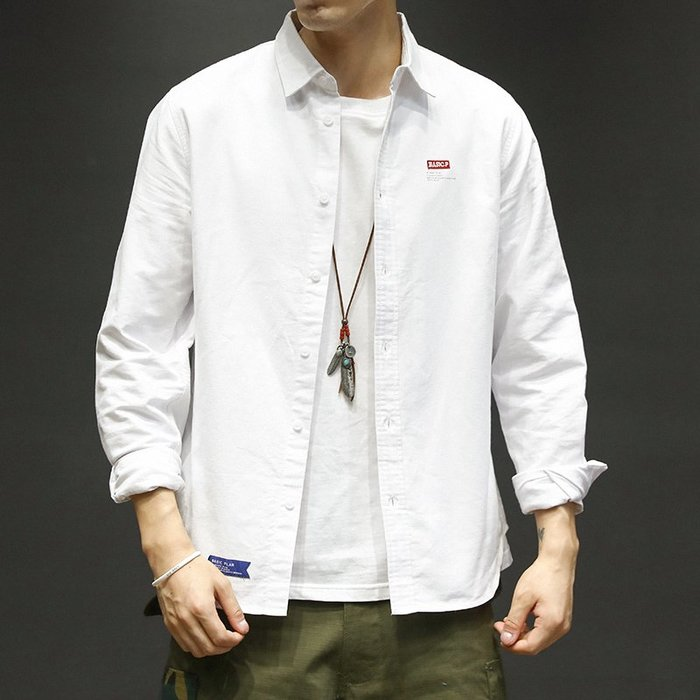 潮流猛男型男熱賣韓版日系歐美個性心機款流行秋季日系復古青年休閑文藝白襯衫男士修身翻領刺繡長袖襯衣