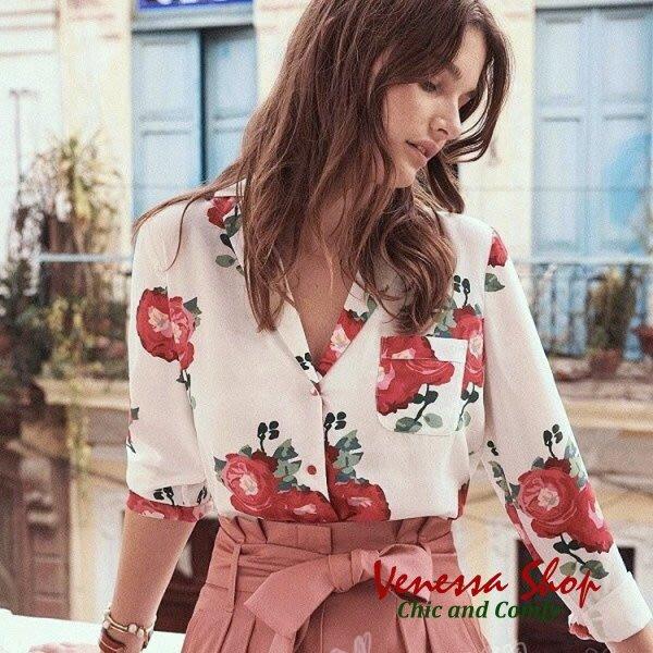 法國 SEAZANE 新款 法式情懷 重砂洗雙皺真絲 18 m/m 玫瑰印花 包扣西裝小駁領口袋長袖襯衫 (K761)
