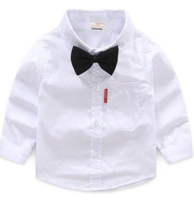 現貨 簡約百搭白色紅標襯衫