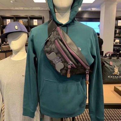 NaNa代購 COACH 89905 男女通用 腰包 時尚潮流 背面鏤空透氣網狀 容量大 附購證 買即送禮