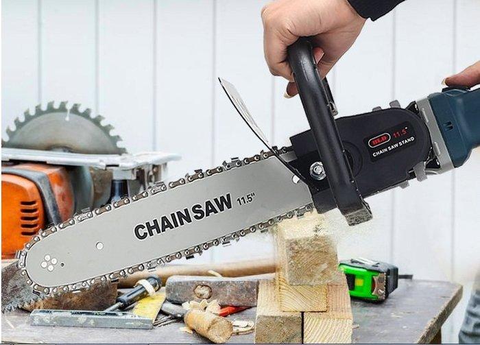 角磨機轉電鏈鋸 套装100型磨光機改裝電鏈鋸家用伐木鋸支架配件套(沒有自動加油款)