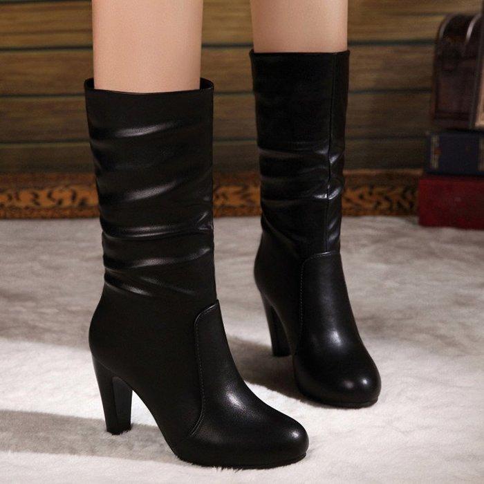 ~Linda~秋冬季新款短靴高跟中筒靴百搭套筒粗跟馬丁靴真皮女靴子