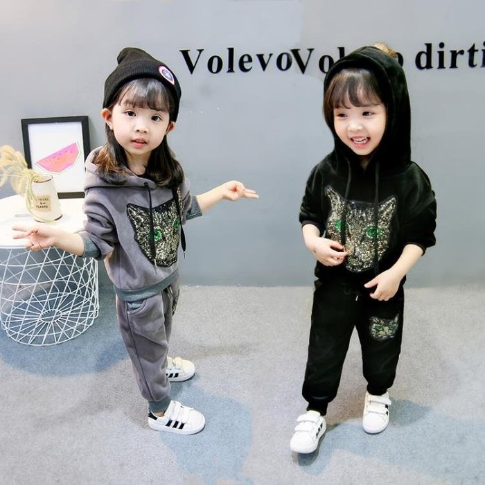 999童裝 女童秋冬裝新款1-3歲寶寶洋氣加厚套裝6兒童韓版金絲絨兩件套01KK12