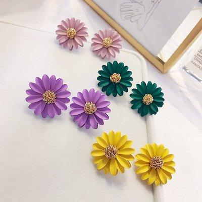 FAINO 黃色花朵耳環韓國簡約百搭莫蘭迪個性超仙耳墜氣質小雛菊耳釘女潮