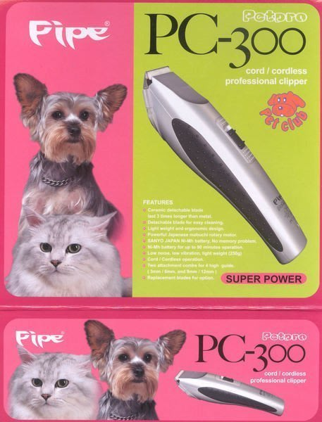 PiPe牌PC300,宅配免運 陶瓷安全刀頭、日本馬達 防滑側邊、寵物電剪剪毛器、一年保固、超取免運費、人體工學設計握把