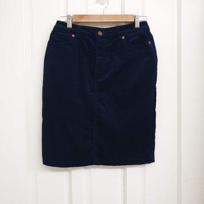 Stand up 30~二手衣~無印良品Muji燈芯絨裙 (深藍) M 全新僅試穿