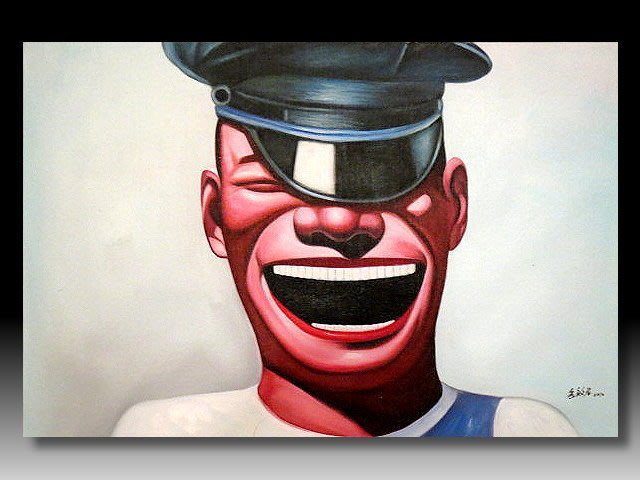 【 金王記拍寶網 】U1240  九O年代當代亞洲藝術家 岳敏君款 手繪油畫一張 ~ 罕見系列作品 稀少 藝術無價~