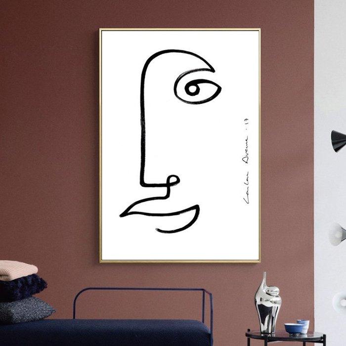 北歐現代簡約裝飾畫畫心微噴打印抽像人物線條掛畫壁畫(2款可選)