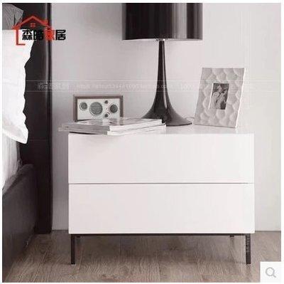 『格倫雅』現代簡約床頭櫃北歐黑白色鋼琴烤漆臥室儲物櫃床邊櫃^7739