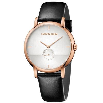 【柒號本舖】CK Calvin Klein Established 凱文克萊皮帶男錶-銀面玫瑰金框 # K9H2X6C6