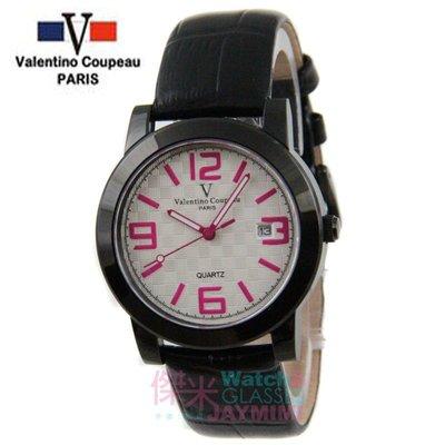 【JAYMIMI傑米】Valentino范倫鐵諾古柏皮帶手腕錶-格紋法式浪漫主義彩色刻度藍水晶玻璃 粉白 特價 1450