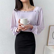 正韓現貨紫1【袖透紗雪紡衫】[白/紫/黑 ]胸寬53長62