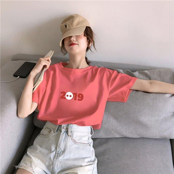 FINDSENSE G6 韓國時尚潮流 2019夏季寬鬆百搭套頭圓領印花短袖T恤圓領T恤女裝上衣