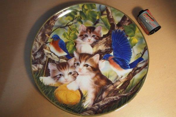 不玩了!英國 Franklin Mint 法蘭克林明特 貓系列  Spinning A Yarn 瓷盤Ø20.5cm
