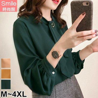 【V3052】SMILE-輕著盎然.純色領巾釦長袖上衣