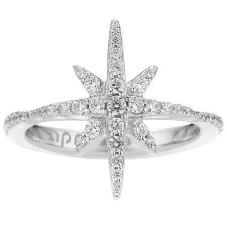 安安精品保證正品~apm MONACO A17642OX法國精品珠寶 優雅銀色繁星鑲鋯戒指