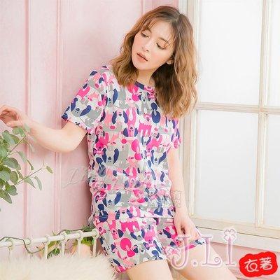 【J.Li】QA4082全尺碼-塗鴉滿版小狗前短後長棉質短袖二件式睡衣組(童趣白)