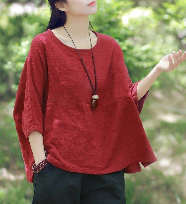 【子芸芳】春夏7分袖棉麻衫上衣 文藝復古寬鬆大碼襯衫