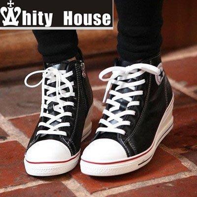 =WHITY=韓國GRAMMI品牌 韓國製 時尚必備 高級軟皮高質感精品 顯瘦坡跟短靴 S4FDD89