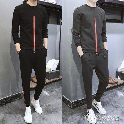 ZIHOPE 長袖T恤男春秋季新款圓領休閒運動套裝韓版潮流青年衛衣一套ZI812