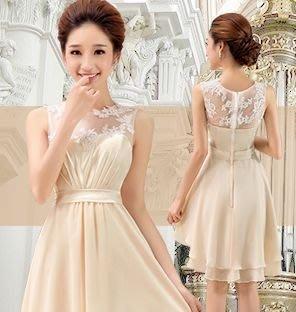(45 Design定做款)  客製化7天到貨 韓版無袖蕾絲網紗小禮服 透視洋裝連身裙 婚禮