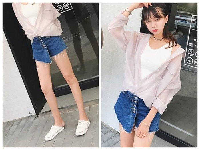 2018新款韓版裙褲排扣顯瘦短褲寛鬆防走光牛仔褲裙
