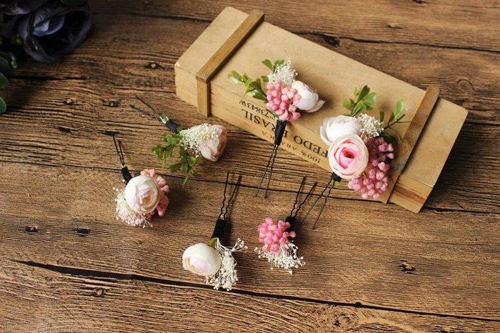 現貨供應(6510A2)小資平價禮服坊-森系玫瑰花仿真花外拍新娘頭飾U型髮簪-六件組