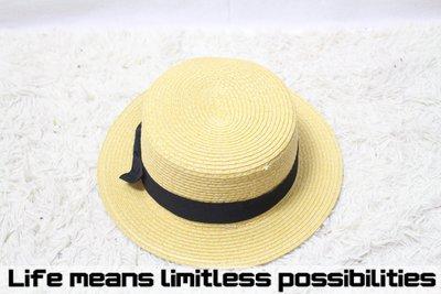 中性平頂短沿草帽 Wide brim hat 歐美 百搭 古著 復古  寬沿 大帽簷 【LtLf】