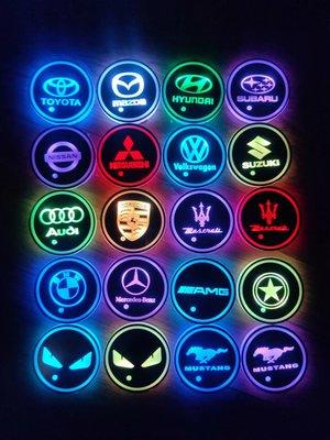 高質感 一組兩入 LED水杯墊 發光水杯墊 七彩led水杯墊 汽車用品 改裝 氣氛燈 酷炫 kof82507789