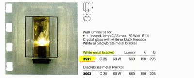 德國名牌 LIMBURG WALL LUMINAIRE FOR 1 X 314 60W CANDLE LAMP MODEL NO. 3531