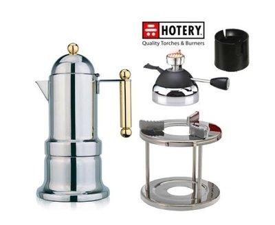 【玩咖啡】日本寶馬KONTESSA類VEV摩卡壺6人份加新款陶瓷爐頭瓦斯爐附充氣座+爐架