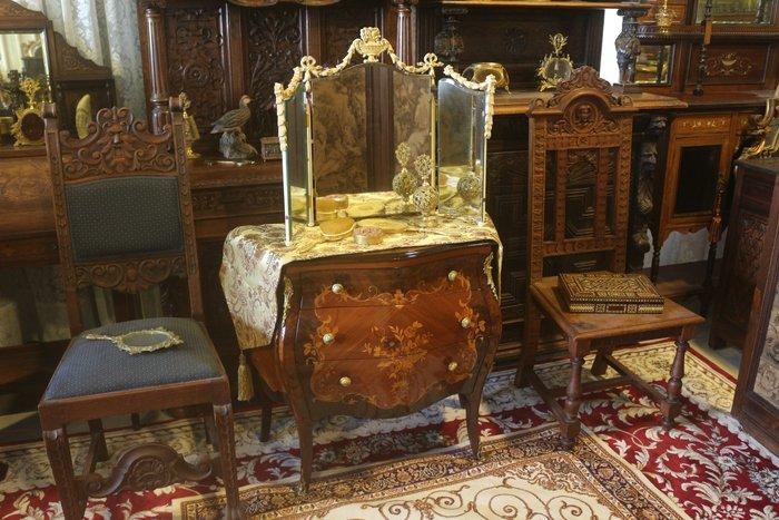 【家與收藏】特價稀有珍藏歐洲古董法國古典華麗精緻巴洛克花卉浮雕三面鏡/桌鏡13