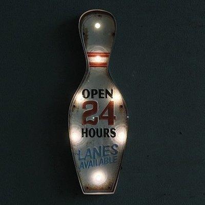 LOFT工業風燈牌餐酒館創意酷招牌 鐵製保齡球瓶立體字造型OPEN標誌標示牌鐵皮畫燈飾 美式復古櫥窗店面燈排壁掛LED燈