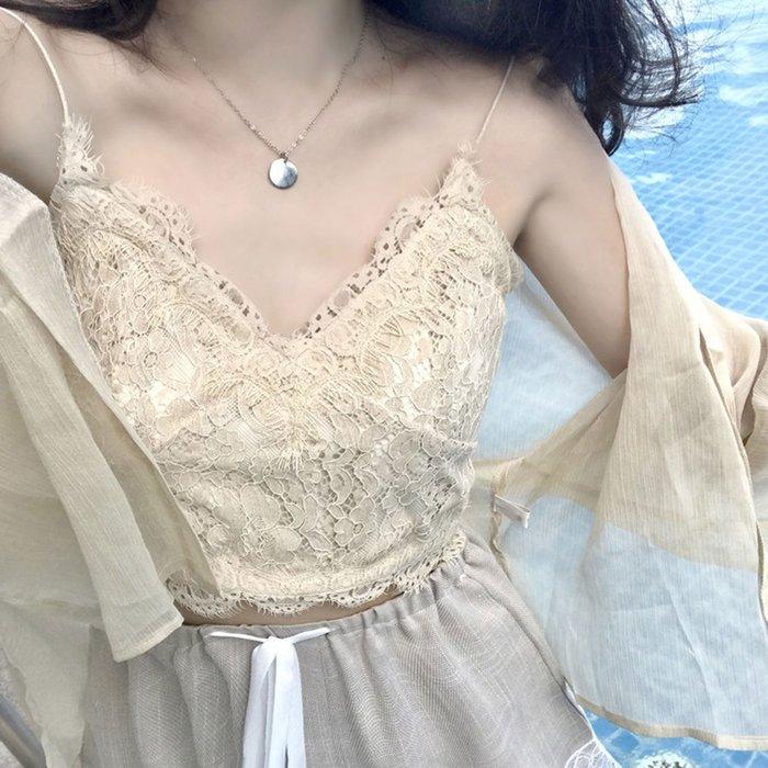 小可愛 韓版性感蕾絲鉤花細肩帶背心【O3348】☆雙兒網☆
