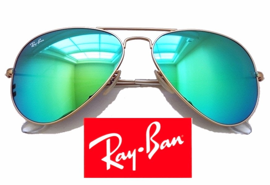 RAY-BAN 太陽眼鏡 雷朋飛行員 飛官 湖水綠色反射水銀鏡片 霧金框 3025 112/17 58【以靡專櫃正品】