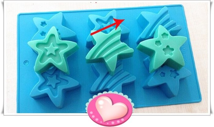 矽膠模型 巧克力蛋糕烘培布丁果凍模 皂模~ 6連三種星星模  小丑魚 ~A167