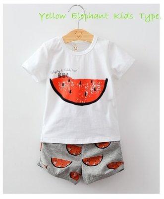 純棉套裝*黃大象*男女童夏季~大西瓜上衣+滿滿西瓜綿短褲......(套/販售)優惠組合