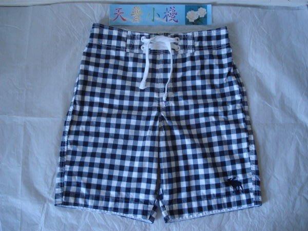 【天普小棧】A&F Abercrombie&Fitch海灘褲 泳褲 衝浪褲 深藍格紋 KIDS XL號 現貨抵台