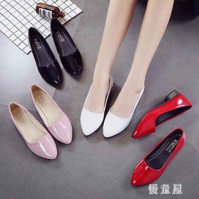 豆豆鞋 夏季新款尖頭低跟鞋淺口瓢鞋黑色百搭漆皮單鞋女鞋 QQ4803